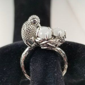 Vintage Style Bird & Moonstone Egg RING